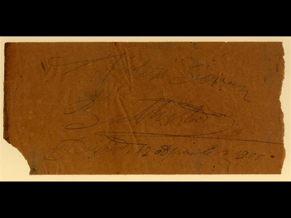 Storia - Certificato di garanzia datato 12 aprile 1900, rinvenuto ai giorni nostri dietro un vecchio cassettone